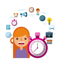 people time management stopwatch clock vector image
