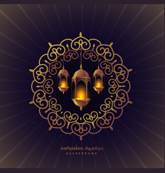 Ramadan festival lamps in floral frame vector