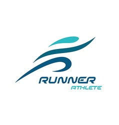 Runner logo Fast simple stylized athlete figure vector image vector image