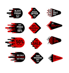 sale sticker set with hand drawn elements in red vector image