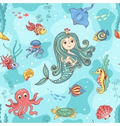 Seamless pattern with mermaid princess vector