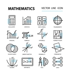 Set of modern thin line icons for math vector image vector image