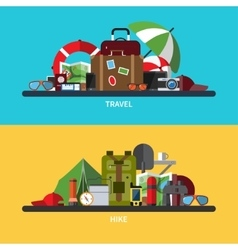 set of tourism traveling hiking vector image vector image