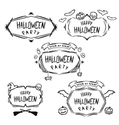 Set of vintage happy halloween badges vector image