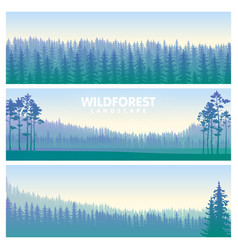 the blue wildforest landscape set vector image vector image