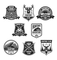 vetor badges for hunter club or hunting adventure vector image vector image