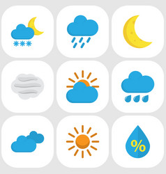 Weather flat icons set collection of moon frosty vector