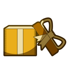 Yellow aged silhouette of opened gift box with vector