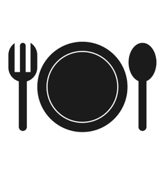 Dish with fork and spoon icon vector