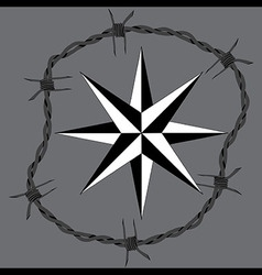 Barbed wire circle frame windrose navigation symbo vector