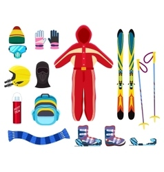 Skiing winter sports equipment set vector