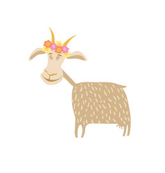 Goat with flower wreath vector