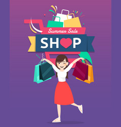 Cartoon woman holding shopping bag with shopping vector
