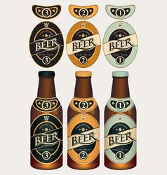 Beer labels for three beer glass bottles vector