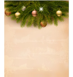 Christmas decoration on old paper background vector