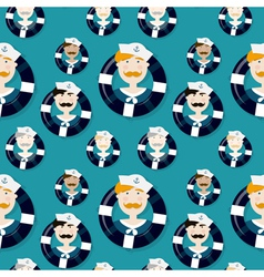 Different sailors seamless pattern in cartooning vector