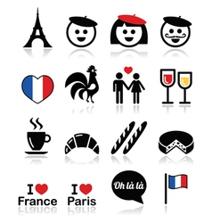 France i love paris icons set vector