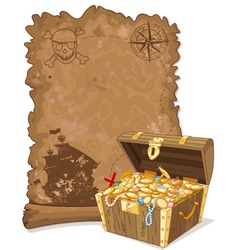 Pirate Map and Chest vector image