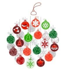 Stylized christmas ball made of small ones vector
