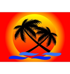 Summer sunset and coconut tree vector