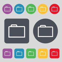 Folder icon sign a set of 12 colored buttons flat vector