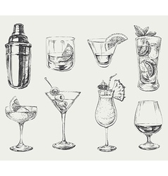 Set of sketch cocktails and alcohol drinks vector