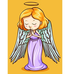 Angel with wings praying vector image