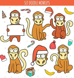 Year of red monkey doodle set monkeys chinese vector