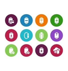 Credit card in smart watches circle icons on white vector