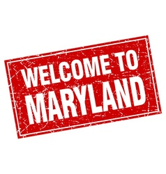 Maryland red square grunge welcome to stamp vector