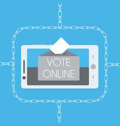 Blockchain online voting concept vector