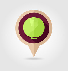 cabbage flat pin map icon vegetable vector image vector image