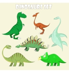 Cartoon dinosaur collection vector image