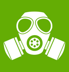 Chemical gas mask icon green vector