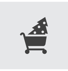 Christmas tree shopping icon vector