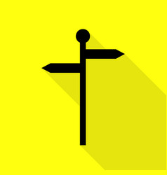 Direction road sign black icon with flat style vector