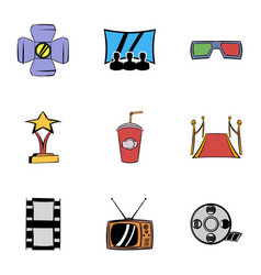 entertainment icons set cartoon style vector image