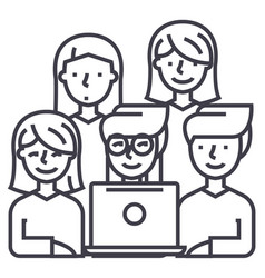 friends looking at notebook line icon sign vector image