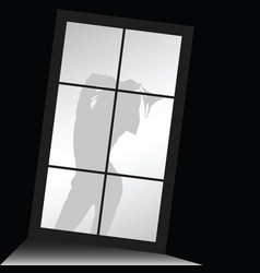 Girl silhouette with underwear front of window vector