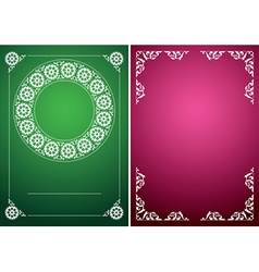 green and red vintage backgrounds with white frame vector image vector image