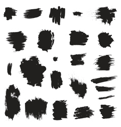 Grunge painted brush strokes design elements set vector