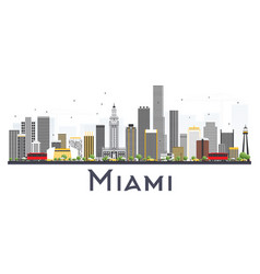 miami usa city skyline with gray buildings vector image
