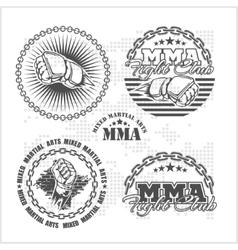 Mma mixed martial arts emblem badges - set vector