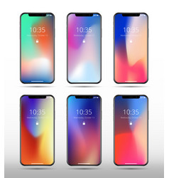 modern smartphone mockups with abstract vector image