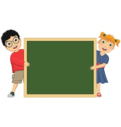 Of cute children holding board vector