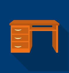Office desk icon in flat style isolated on white vector