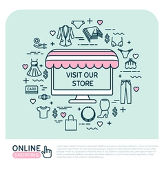 Online shopping Set with woman clothes vector image vector image
