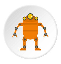 Orange abstract robot icon circle vector