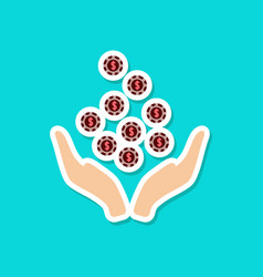 Paper sticker on stylish background coins in hand vector