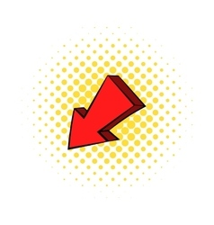 Red left down arrow icon comics style vector